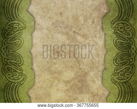 Old Paper With Calligraphy Pattern - Green And Brown