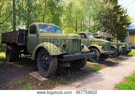 Pereyaslav, Ukraine-may 16, 2020:wide-angle View Of Old Rusty Trucks And Vehicles Times Of The Ussr.
