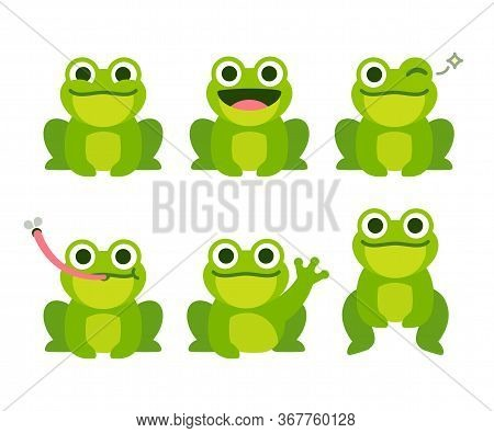 Cute Cartoon Frog Set, Animation Frames. Adorable Little Froggy Smiling, Jumping, Croaking, Waving A