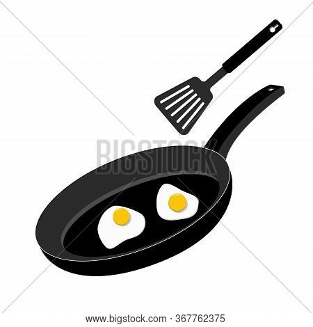 Black Pan Isolated On A White Background, Fried Eggs In A Pan. Breakfast Icon
