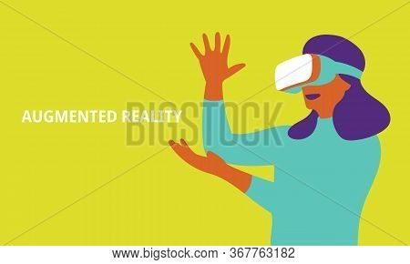 Woman In Vr Headset Looking Up At The Objects In Virtual Reality