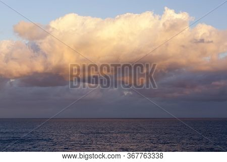The Orange Color Cloud Painted By The Sunrise In Nassau (bahamas).