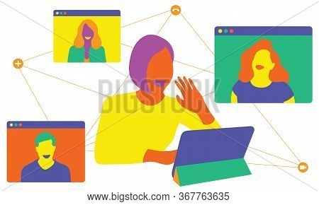 Video Conferencing Of People Working At Home. Vector Illustration.