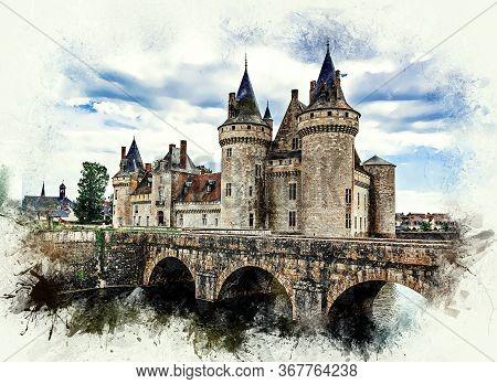 Old Medieval Castle (сhateau) De Sully Sur Loire. Loire Valley, France. Color Pencil Style Illustrat