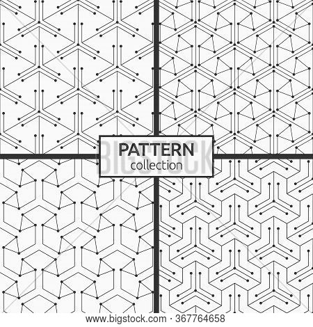 Set Of Four Seamless Patterns. Abstract Geometric Trendy Vector Backgrounds. Linear Trellis. Geometr