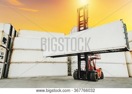 Blank White Shipping Cargo Container Loading On Forklift Truck For Transportation Shipping And Logis
