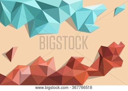 Low Poly Background Vector,blue And Dark Brown Color Pattern ,geometric Form And Triangle Shape Desi
