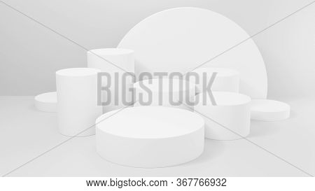 Geometric Cylinder Shape Background In The White Studio Room, Minimalist Mockup For Podium Display O