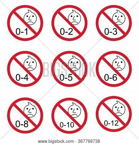 Prohibition No Baby For Set 0-1 Etc Sign. Not Suitable For Children Under 1, 2.. Years Vector Icon