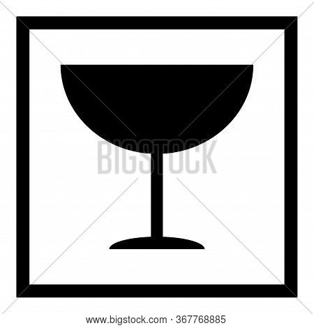 Fragile Flat Icon With Black Frame Isolated On White Background. Fragile Package Symbol. Label Vecto