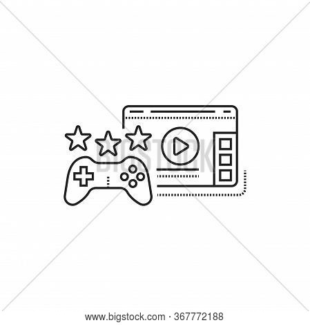 Game Blog Web Site Black Line Icon. Cyberspace Video Streaming. Vlogging Sign. Pictogram For Web Pag