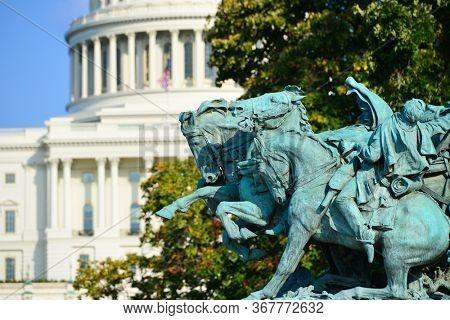 Civil War statue and U.S. Capitol Building - Washington D.C. United States of America