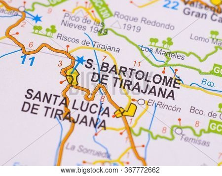Macro Picture Of The Location On The Map Of The City Of San Bartolome De Tirajana In Spain