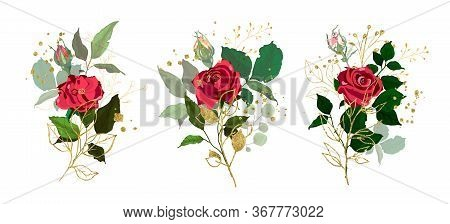 Gold Leaves Green Tropical Branch Plants With Red Rose Flowers Wedding Bouquet With Golden Splatters