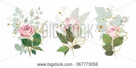 Gold Leaves Green Tropical Branch Plants With Pink Rose Flowers Wedding Bouquet With Golden Splatter