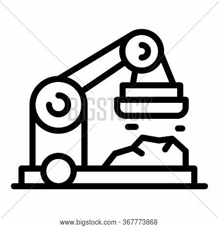 Crane With Magnet Icon. Outline Crane With Magnet Vector Icon For Web Design Isolated On White Backg