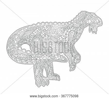 Beautiful Linear Illustration For Adult Coloring Book Page With Iguanodon Silhouette Isolated On The