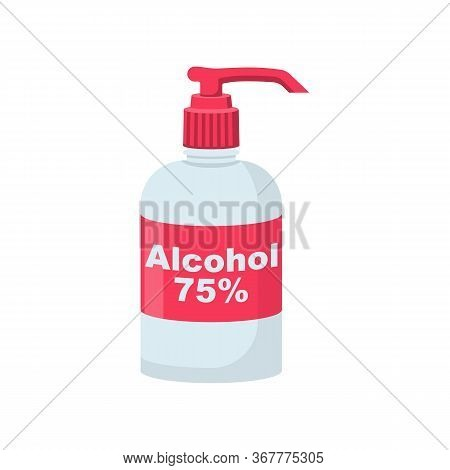 Bottle Of Antibacterial Alcohol 75 . Sanitary Product For Personal Hygiene, Hand Washing. Hygienic G