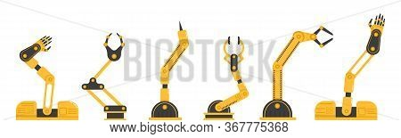 Set Of Robotic Hand Tools Or Industrial Welding Robots In A Factory Of A Production Line Manufacture