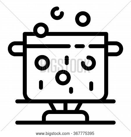 Boiling Water In A Pot Icon. Outline Boiling Water In A Pot Vector Icon For Web Design Isolated On W