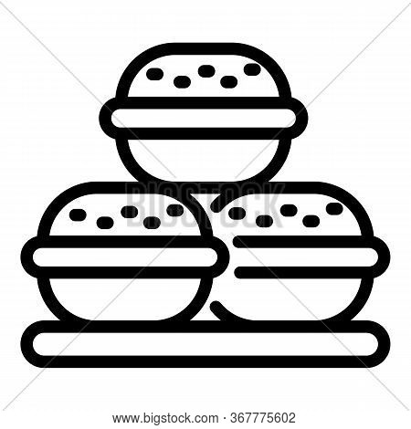 Three Macaroons Icon. Outline Three Macaroons Vector Icon For Web Design Isolated On White Backgroun