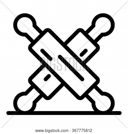 Two Rolling Pins Icon. Outline Two Rolling Pins Vector Icon For Web Design Isolated On White Backgro