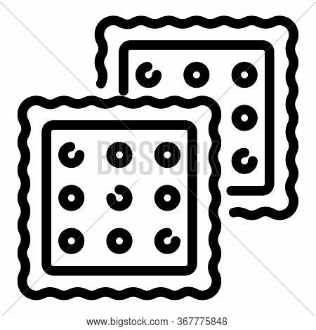 Two Crackers Icon. Outline Two Crackers Vector Icon For Web Design Isolated On White Background