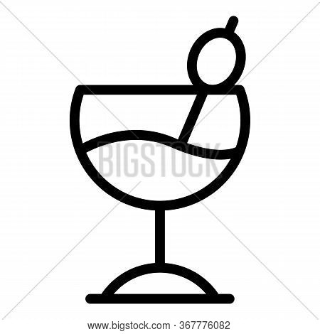 Wide Cocktail Glass Icon. Outline Wide Cocktail Glass Vector Icon For Web Design Isolated On White B