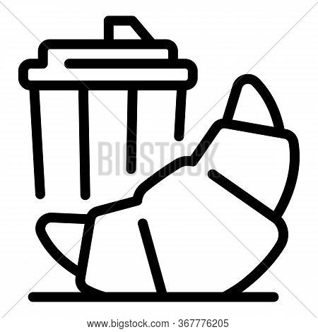 Croissant And Coffee To Go Icon. Outline Croissant And Coffee To Go Vector Icon For Web Design Isola