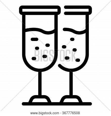 Two Champagne Glasses Icon. Outline Two Champagne Glasses Vector Icon For Web Design Isolated On Whi