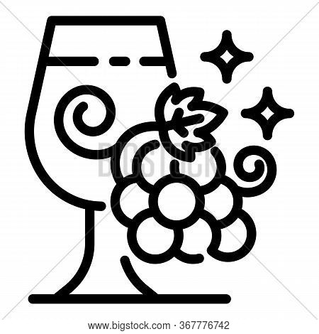 Glass And Bunch Of Grapes Icon. Outline Glass And Bunch Of Grapes Vector Icon For Web Design Isolate