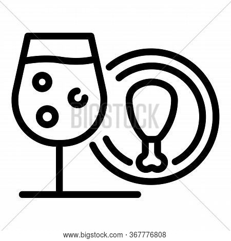 Champagne Glass And Thigh Icon. Outline Champagne Glass And Thigh Vector Icon For Web Design Isolate