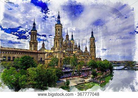 The Basílica De Nuestra Señora Del Pilar And Ebro River In The City Of Zaragoza (saragossa), Aragon,
