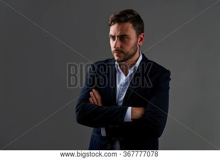 Close Up Portrait Young Man Businessman. Caucasian Guy Business Suit Studio Gray Background. Modern