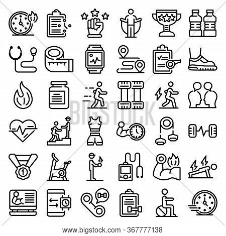Personal Trainer Icons Set. Outline Set Of Personal Trainer Vector Icons For Web Design Isolated On