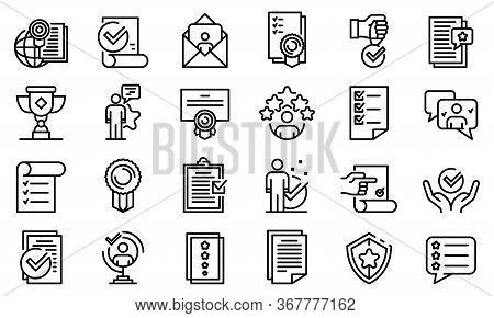 Attestation Service Icons Set. Outline Set Of Attestation Service Vector Icons For Web Design Isolat