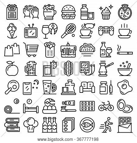 Habit Icons Set. Outline Set Of Habit Vector Icons For Web Design Isolated On White Background