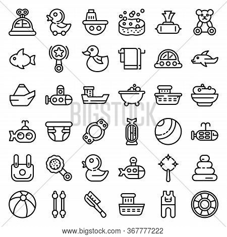 Bath Toys Icons Set. Outline Set Of Bath Toys Vector Icons For Web Design Isolated On White Backgrou