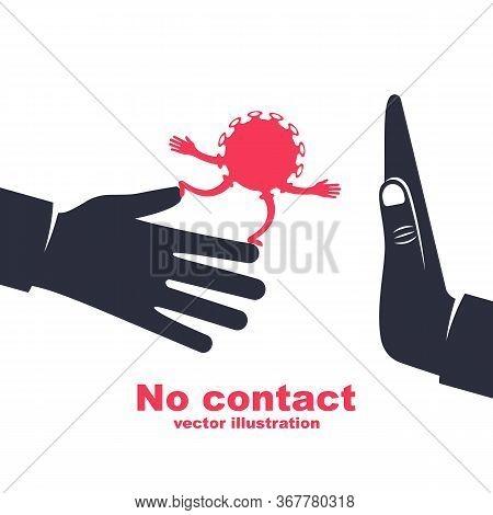 Cartoon Coronavirus On Hand. Bacteria Transmitted Through A Handshake. Gesture No Physical Contact.