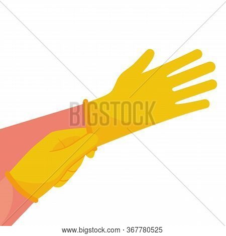 Putting On Gloves. Protective Latex Yellow Gloves. Symbol Of Protection Against Viruses And Bacteria