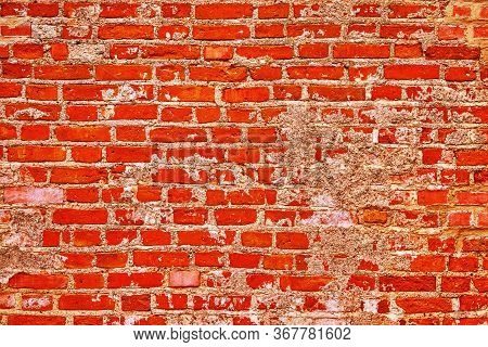 Old Brick Wall Of Bright Red For Abstract Textured Background