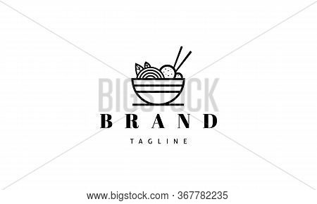 Vector Logo On Which An Abstract Image Of A Bowl With Noodles And Chopsticks.