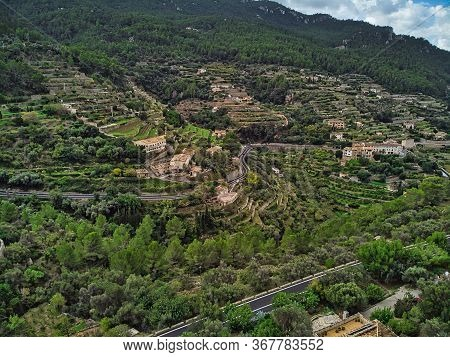 Drone Point Of View Aerial Photography Picturesque Landscape Hillside Houses Located In Banyalbufar