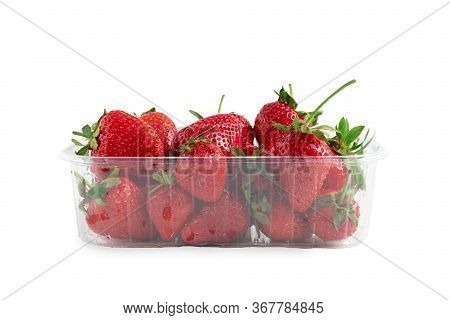 Heap Of Vivid Saturated Ripe Red Strawberries Laying In Big Plastic Transparent Container Box Isolat