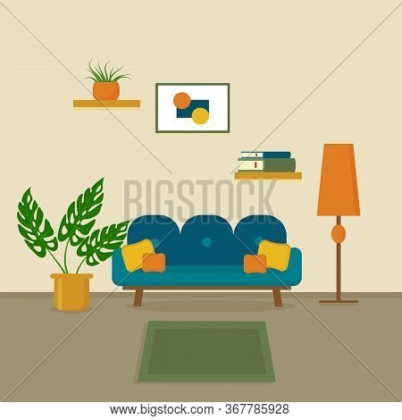 Cozy Interior Of The Living Room With Sofa, Room Flowers, Lamp, Shelf With Books And Picture On The