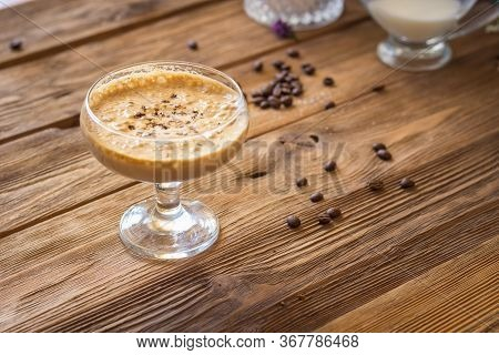 Dalgona Coffee A Cool Fluffy Whipped Coffee Latte Espresso With Coffee Foam. Drink Making Recipe. Pr