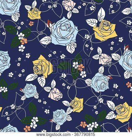 Rose Morden Flower Leaf Allover Navy Background Design