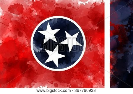 Abstract Watercolor Grunge Flag Of The State Of Tennessee. Modern Watercolored Flag Painted From Pai