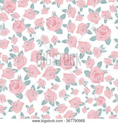 Pink Rose Morden Flower Leaf Allover White Background Design