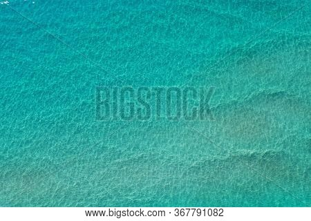 Aerial View Of Clear Shallow Water On Sand Bar Off Miami Beach, Florida On Bright Sunny Summer Morni